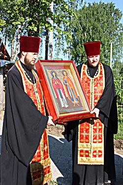 Икона небесных покровителей земли нашей святого князя Михаила Тверского и святой княгини Анны Кашинской.